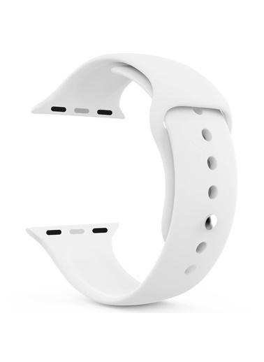 Microsonic Apple Watch Series 3 38mm Silikon Kordon Beyaz Beyaz